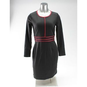Black & Red Long Sleeve High Neck Holiday Dress